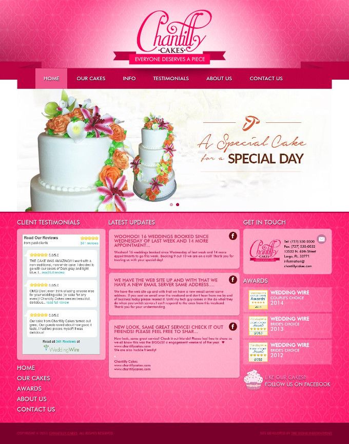 Chantilly Cakes Website